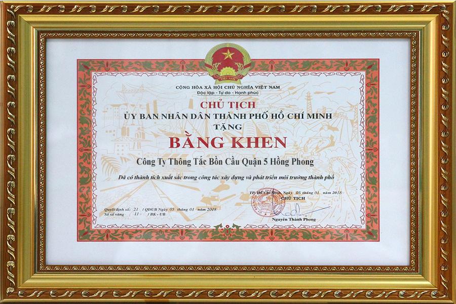 bằng khen môi trường công ty thông cống nghẹt Quận 5 Hồng Phong